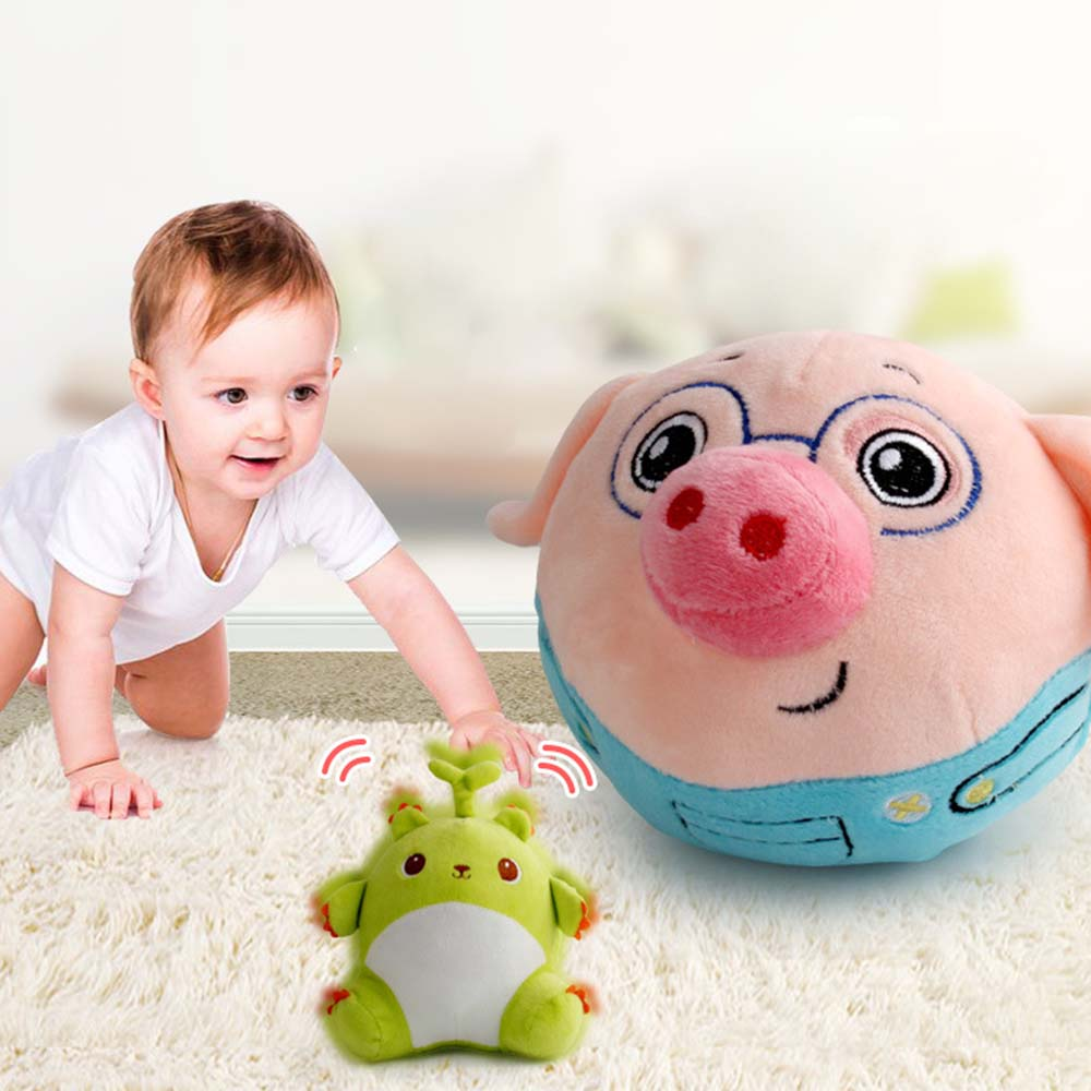 Electric Jump Ball Plush Toys Talking Singing Jumping Cartoon Entertainment Bouncing Ball For Babies