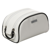 Large Capacity Hand Bag Portable Simple Zipper White Black Solid Color Cosmetic Bag Wash Bag Make Up Bag
