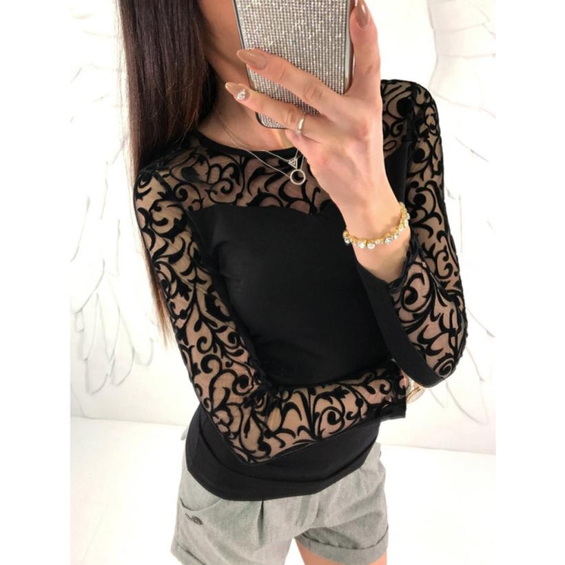 Very cool to wear Blusa Feminina Women O Neck Lace Long Sleeve Tops Solid   Blouse     Shirt   TW 2018 Best tops