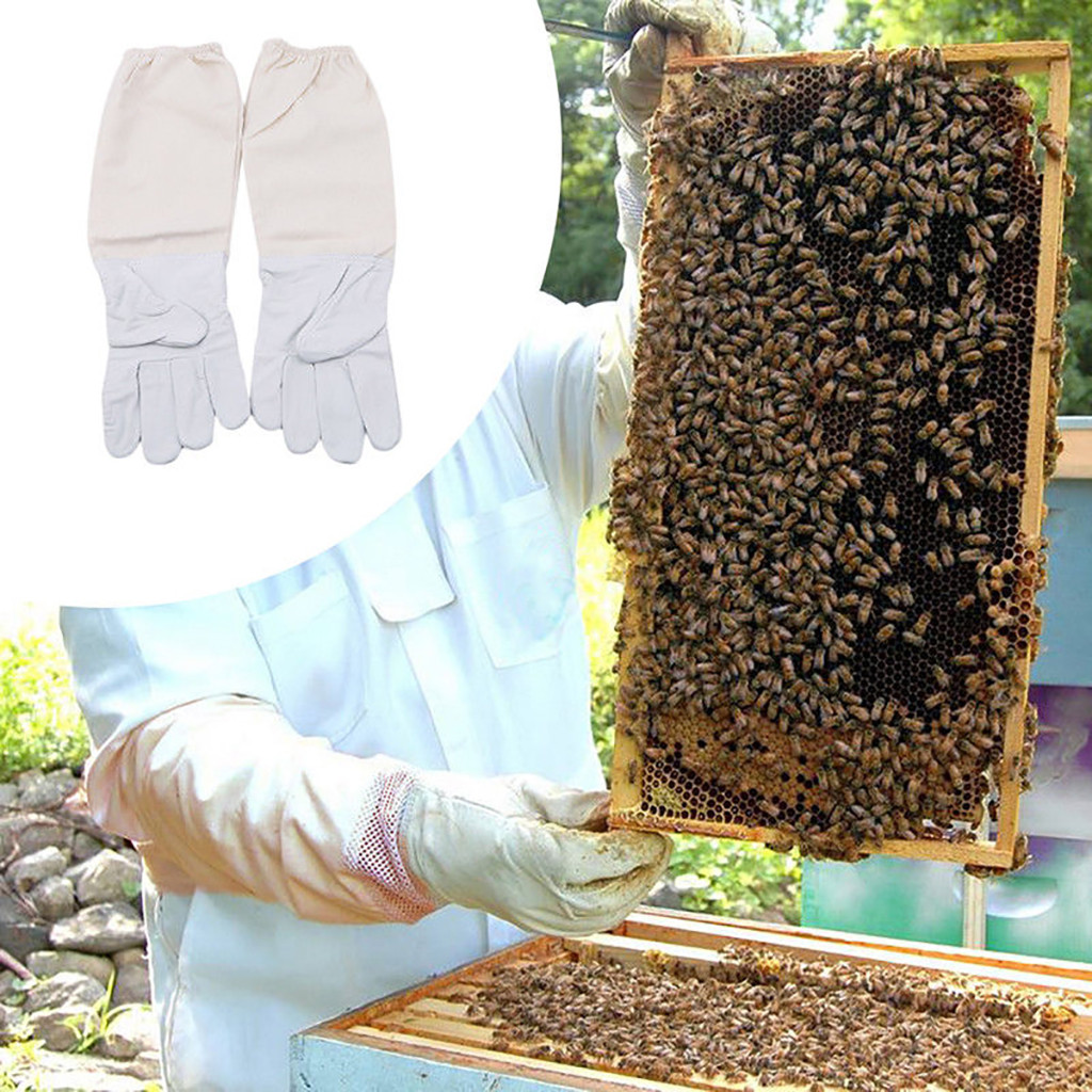 2019 can't miss recommended Beekeeping Gloves Goatskin Bee Keeping with Vented Beekeeper Long Sleeves beekeeping supplies-in Protective Clothing Accessories from Home & Garden