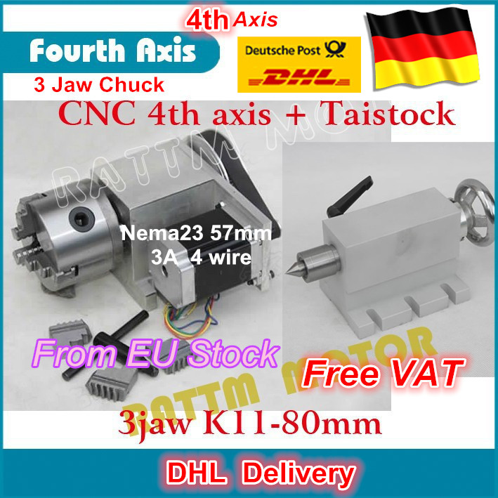 K11-80mm 3 jaw chuck 80mm 4th Axis & Tailstock CNC dividing head/Rotation Axis kit for Mini CNC router/ woodworking engraving