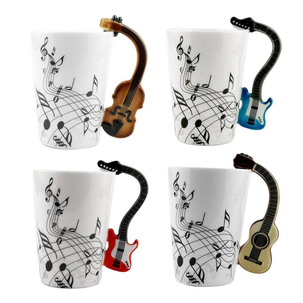Gitarre/Violine Form Griff Tasse Kunst Keramik Becher Musical Instrument Hinweis Stil Kaffee Milch Weihnachten Geschenk Home Office Drink