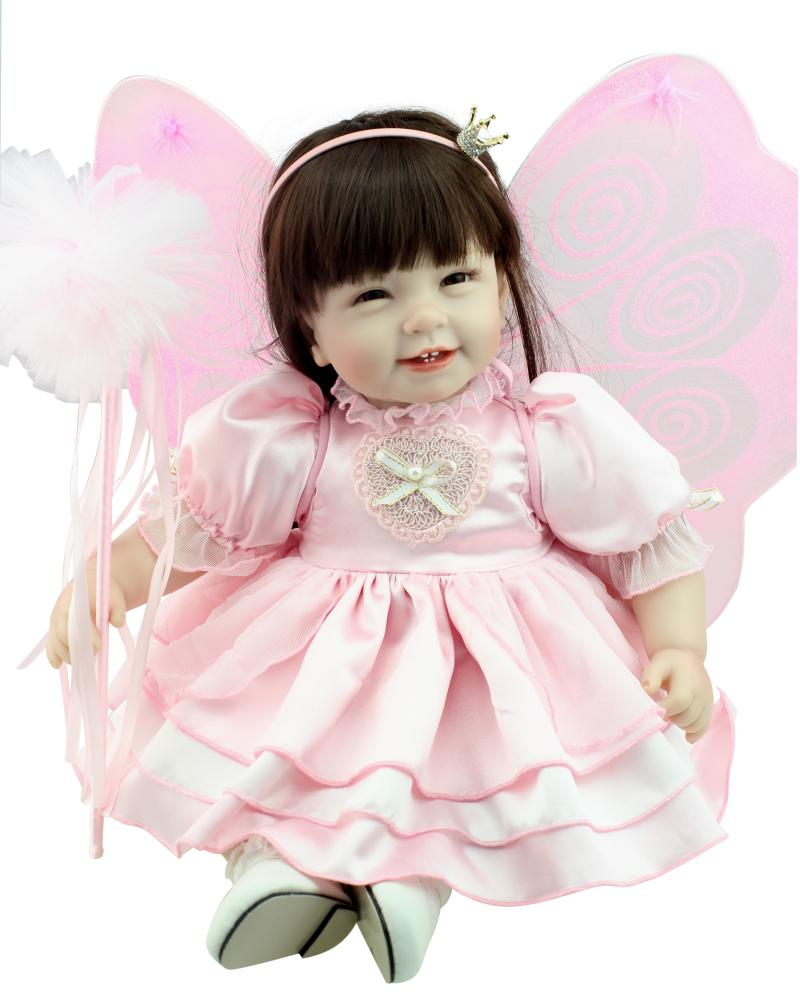22inch Silicone Baby Reborn Dolls Lifelike Princess Bonecas Toys for Girl Fairy Magic Babies Angel Doll Gifts Brinquedos Boneca hot sale toys 45cm pelucia hello kitty dolls toys for children girl gift baby toys plush classic toys brinquedos valentine gifts