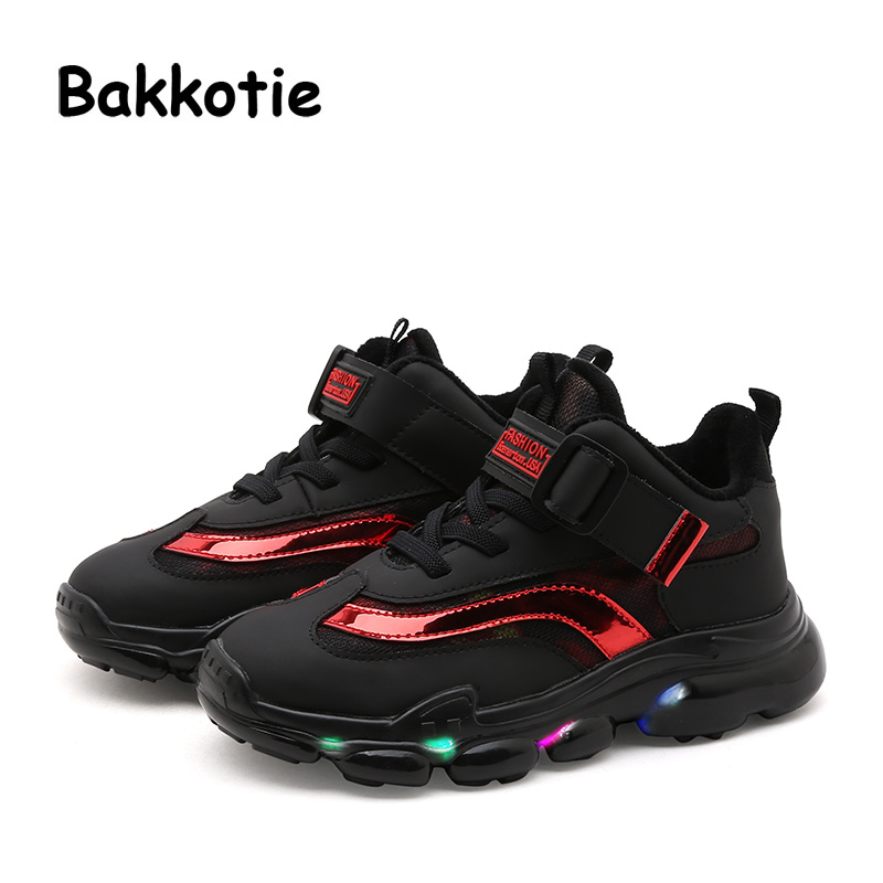 Bakkotie 2018 Winter Fashion Baby Boy Sport LED Light Kid Brand Glowing Sneaker Breathable Leisure Child Girl Trainer Soft Shoes