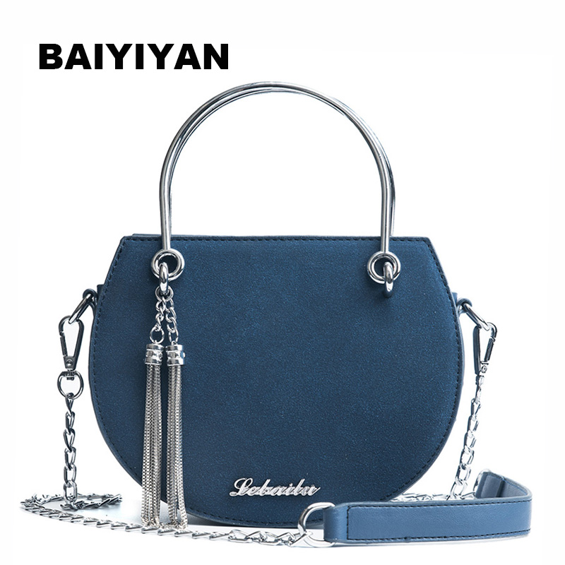 New Fashion Delicate Mini PU Leather Handbag Chain Shoulder Cross-body Bag Small Round Package Women's Tassel Bag