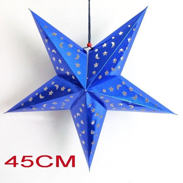 Blue 45CM 5PCS/LOT Christmas 3D Paper Star Lantern Paper Decoration Star  Pendant Paper Lanterns