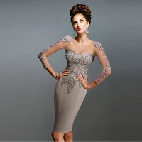 Elegant Lace Gray Open Back 3 4 Sleeve Evening Dress Dresses Party Gowns 2015 Customized E15045