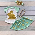 Easter mint bunny gold short sleeves baby Girls skirt print outfits cotton dress set summer outfits with matching accessories