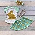 Menta de pascua conejito de oro trajes de falda de impresión de manga corta de los bebés dress set trajes de verano de algodón con accesorios a juego