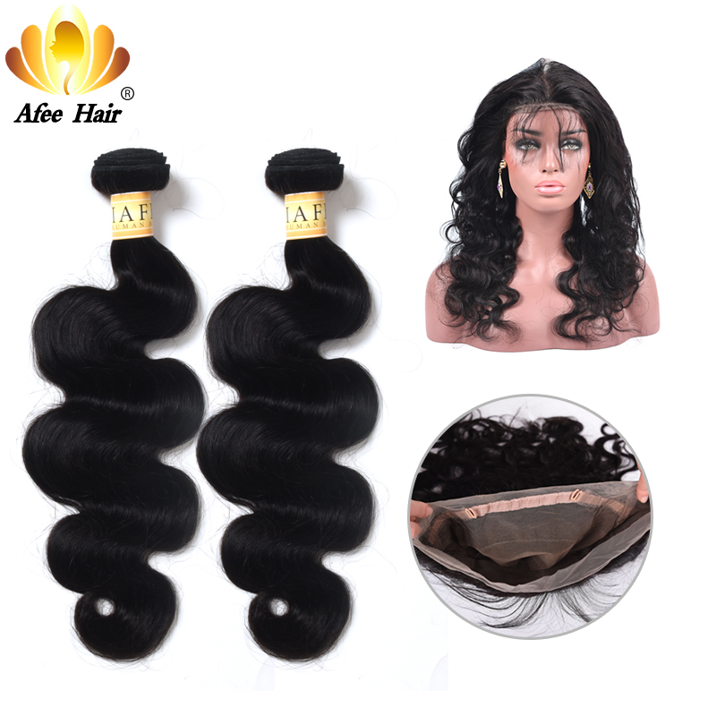 Aliafee 360 Lace Frontal with Bundles Brazilian Hair Weave Bundles Brazilian Body Wave 3 Bundles with 360 Frontal Non-remy