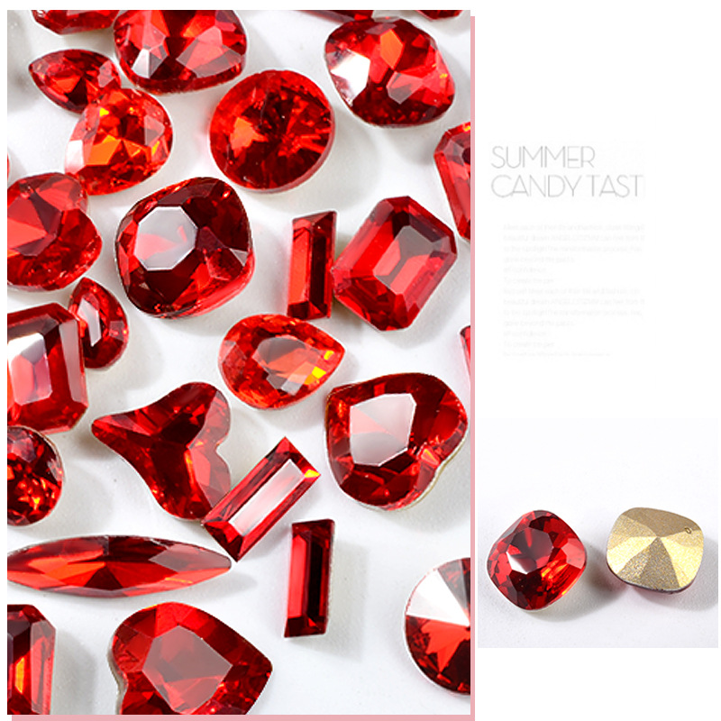 Multi shapes China Red Crystal Glue on Rhinestone Super Bright Glass Strass Rhinestones for Nail Art Dress, Phone Fabric Garment
