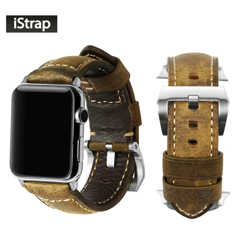 iStrap Vintage Brown Strap for Apple watch 42mm Replacement Bracelet Silver Spring Bar Adapter Link Watch Band For iWatch 42mm istrap black brown red france genuine calf leather single tour bracelet watch strap for iwatch apple watch band 38mm 42mm