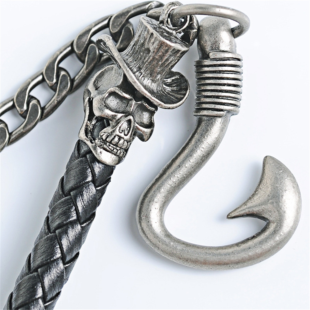 Mens Motorcyle Keychain Jean Biker Wallet Chains Double Black Woven Leather Metal Belt Rock Punk HipHop Pant Trousers Chain