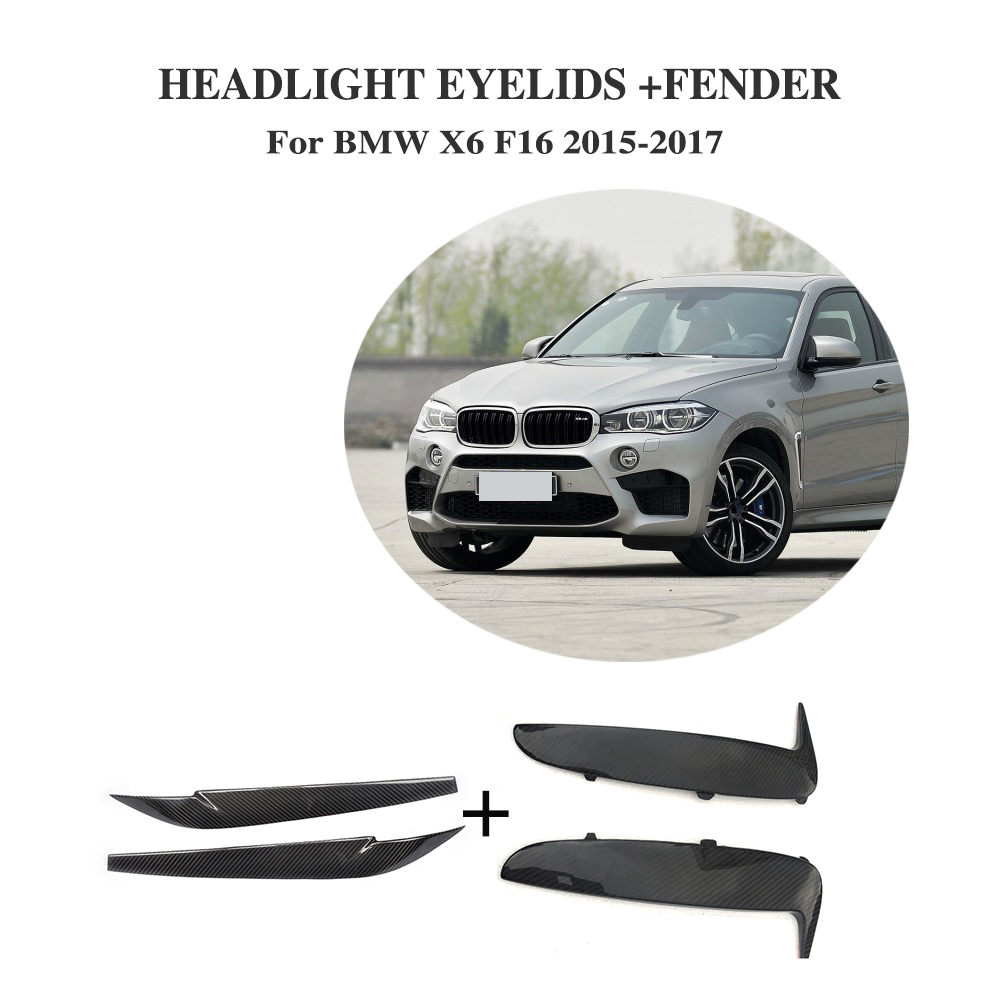 Carbon fibre Side Wing Fender Air Guide Vents Trim Headlight Eyebrows for BMW X6 F16 2015-2017 4PCS/Set zarina блуза