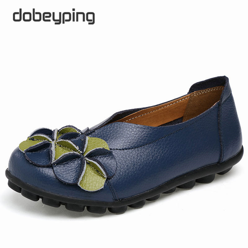 New Women Real Leather Shoes Flowers Mother Loafers Soft Leisure Flats Female Driving Casual Footwear Solid Boat Shoe Size 34-44