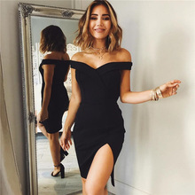 Summer 2019 New Sexy Pure Dresses with One-Word Shoulder Opening and ForkA-shaped Dress high waist pure color short sleeve