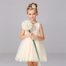 Lovely Child Party Dresses O-neck Sleeveless Sashes Lace Appliques Beading Sequined Tank Sleeve Flower Girl Dresses