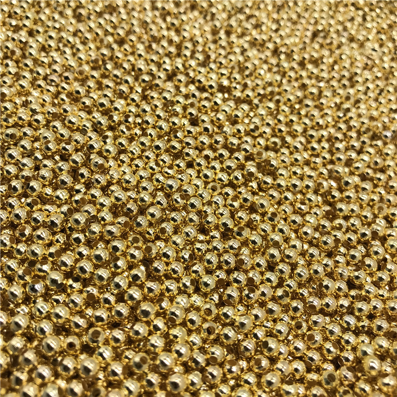 Hot 2/4/6mm Gold Metal Beads Smooth Ball Spacer Beads For Jewelry Making DIY Bracelet Necklace Bead Caps