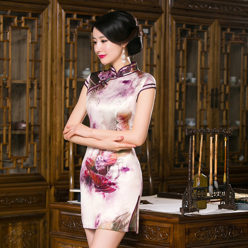 Fengmeisi Chinesischen Cheongsam Kurz Qipao Schlank Vintage Mode