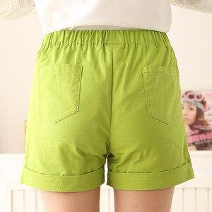 Image 3 - 女性のプラスサイズ夏ミッドウエストゴム固体ストレートプリーツ綿100% 通気性パンツ女性特大汗ショーツ