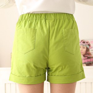 Image 3 - Female Plus Size Summer Mid Elastic Waist Solid Straight Pleated 100% Cotton Breathable Shorts Woman Oversized Sweat Shorts