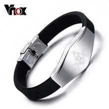 Masonic Silicone Bracelet Bangle Stainless Steel Bracelets Men Fashion Jewelry