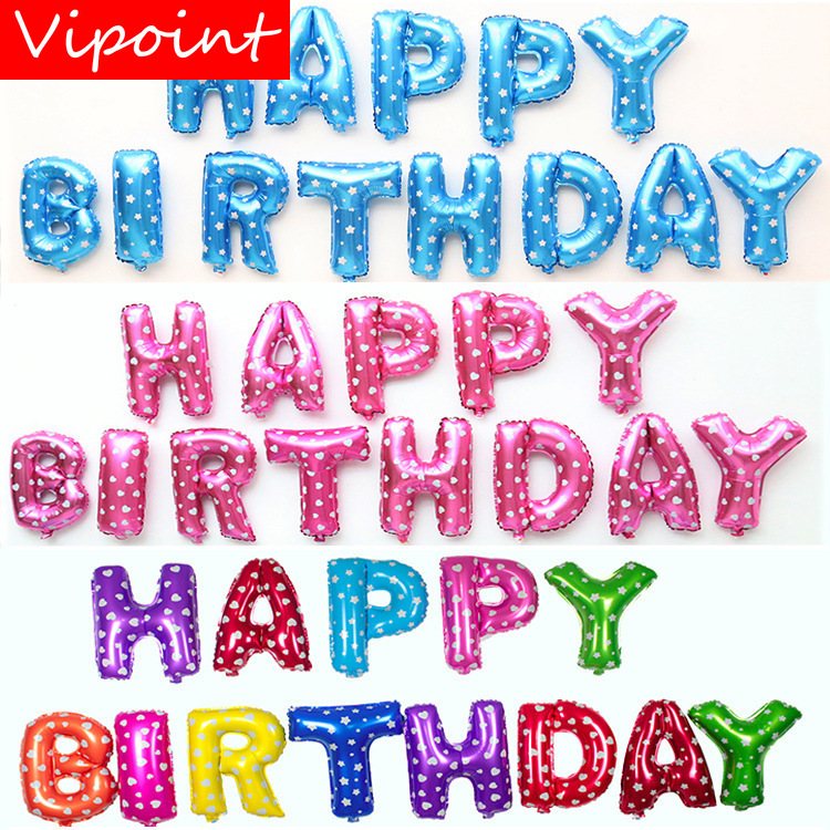 VIPOINT PARTY one set 16inch blue pink red happy birthday foil balloons wedding event christmas halloween festival party HY 31 in Ballons Accessories from Home Garden