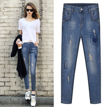 European British style 2017 spring women jeans high quality fashion show thin hole ripped elastic slim woman denim pants D261