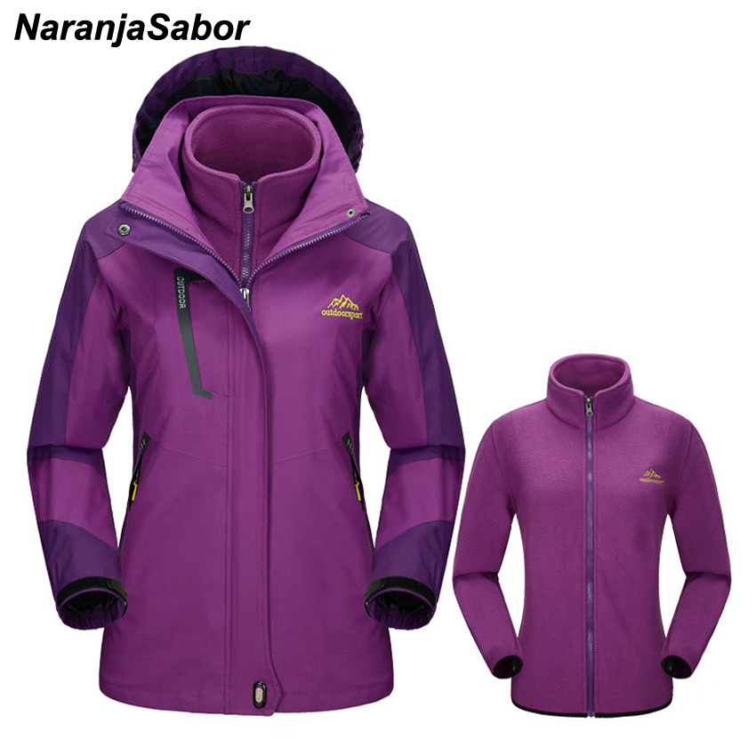 NaranjaSabor 2019 Winter Womens 2 Pieces Casual Jackets Waterproof Windproof Thermal Female Coats Removable Women Brand