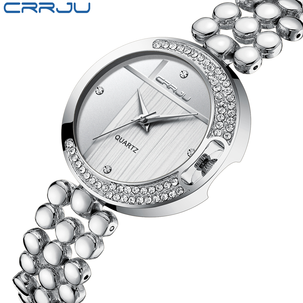 CRRJU Women Fashion Rhinestone Quartz Watches Stainless steel band moonlike Ladies Crystal dress Wrist Watches Relojes Mujer watche women stainless steel band ladies crystal diamond quartz watch luxury rose gold wrist watches relojes mujer
