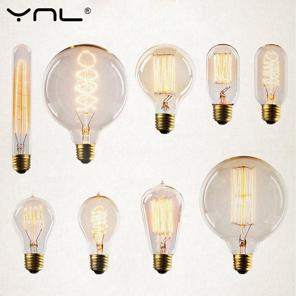 4Pcs /lot Retro Edison Bulb E27 220V 40W Incandescent Light Bulb ST64 A19 T45 G80 G95 filament bulb lighting tubes Edison