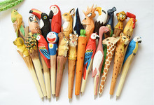 Free 10pcs/lot Wooden craft pen Classic wooden animals hot sell Hand-carved pens Creative stationery ballpoint