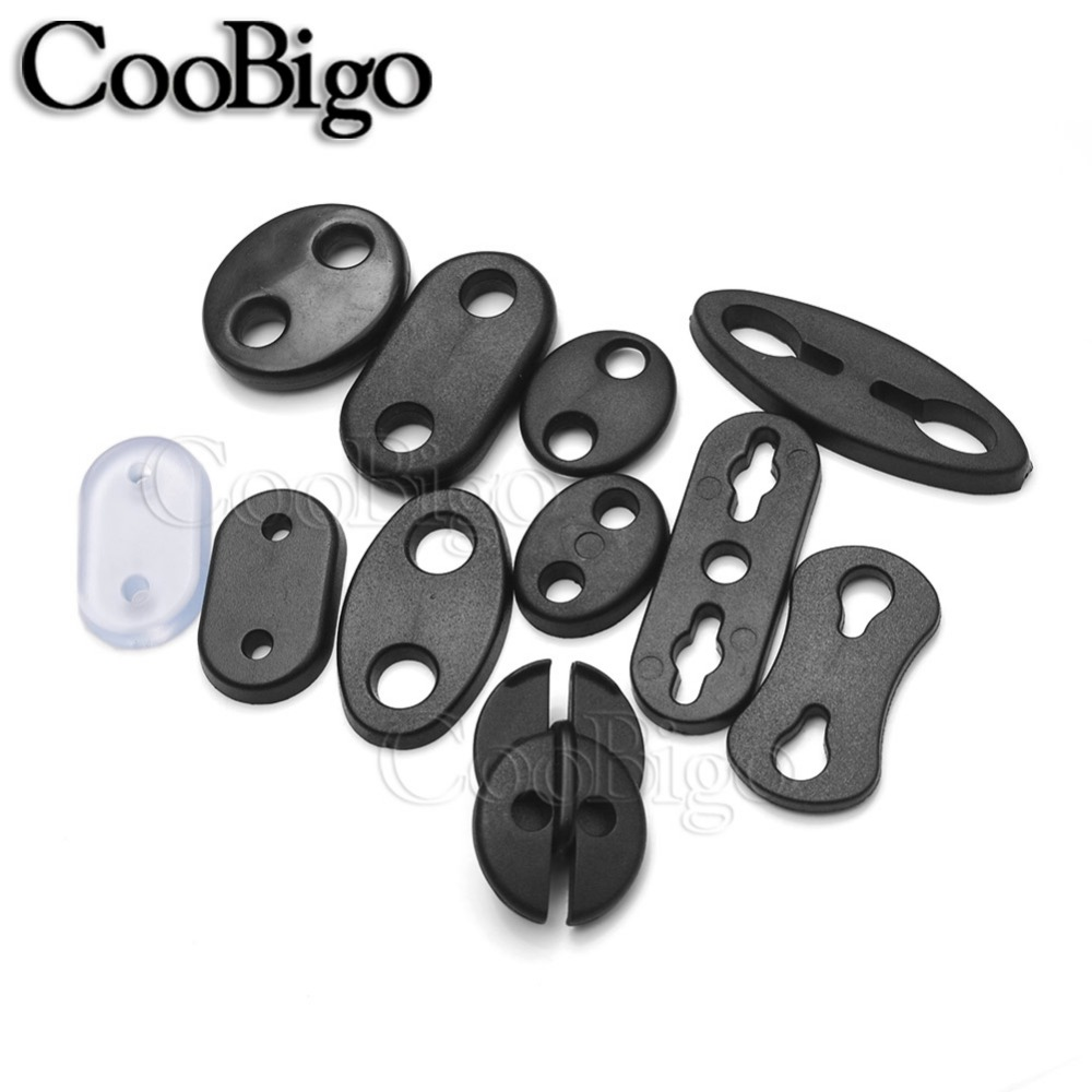 Spring Loaded Twin Hole Button Drawstring Plastic Cord Stopper Locks End Toggles