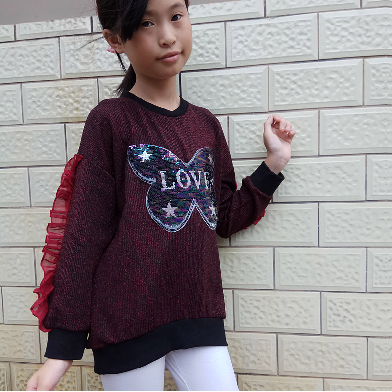 Spring Autumn Girls T shirt sequins Butterfly Round neck are soft and comfortable Long Sleeve T shirt for girls sequins in Tees from Mother Kids