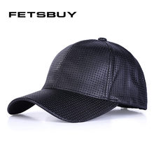 FETSBUY New Men Baseball Cap Women Leather Snapback Caps Brand Adjustable Bone Fitted PU Dad Hats For Men Baseball Cap