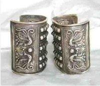 תכשיטים בעבודת יד מעולה סין אסיה פרח מגולף פניקס כסף מיאו טיבטי שני צמיד צמיד משלוח חינם