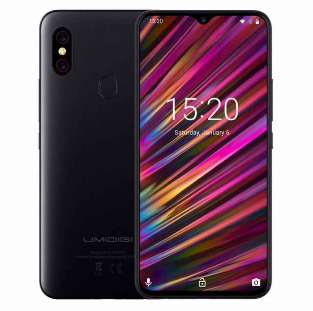 "UMIDIGI F1 Android 9.0 128GB ROM 4GB RAM 6.3"" FHD+ Helio P60 5150mAh Big Battery 18W Fast Charge Smartphone NFC 16MP+8MP Phone"