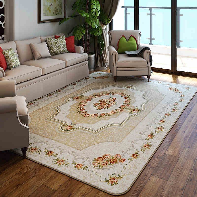 European Soft Coral Fleece Carpets Anti Slipping Sofa Living Room Parlor Rugs Floral Printed Floor