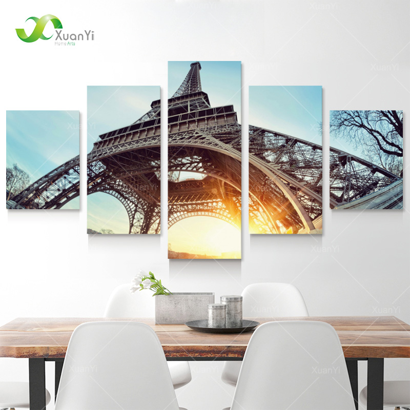 5 panel wall paintings modern printed paris eiffel tower landscape oil painting wall art picture for living rom no frame pr1130