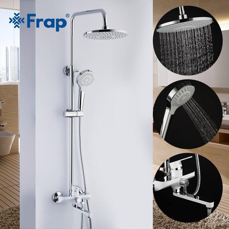 2019 Neuestes Design Frap Bad Dusche Armaturen Set Regen Dusche Kopf Wasserhähne Badewanne Auslauf Wand Montiert Wasserhahn Bad Dusche Mixer Grifo Ducha F2441