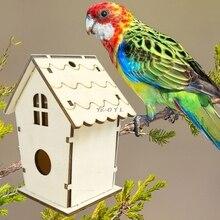 Natural Wooden Bird House Nest Creative Wall-mounted Garden Outdoor Bird Cage Box