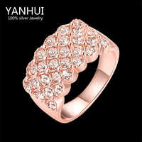 YANHUI Brand New Trendy Rings Jewelry Real Rose Gold Filled CZ Diamant Wedding Rings For Women RING SIZE 5 6 7 8 9 10 YR508