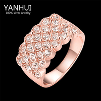 YANHUI Brand New Trendy Rings Jewelry Real 18K Rose Gold Filled CZ Diamond Wedding Rings For