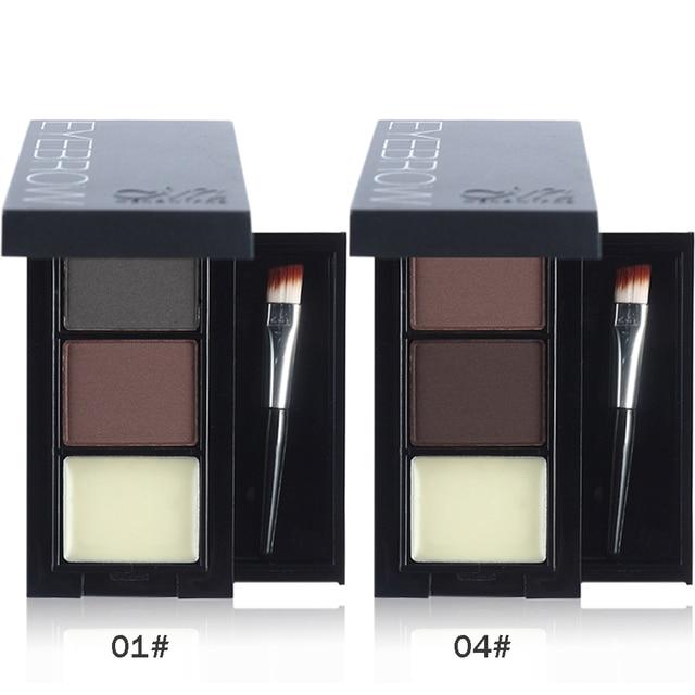 Menow Professional Eye Brow Makeup 2 Color Eyebrow Powder + Eyebrow Wax Palette Contour Bronzer Shadow with Brush Cosmetics Kit 2