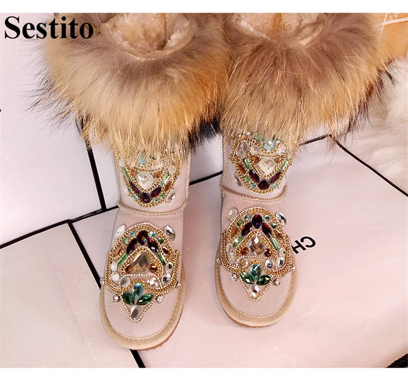 Fashion Black Crystal Feather Thicken Keep Warm Winter Boots Woman Round Toe Mid-Calf Boots Women Flat With Slip-on Women Shoes winter women boots basic fashion round toe comfortable flat shoes female footwear mid calf warm boots popular wholesale dgt674