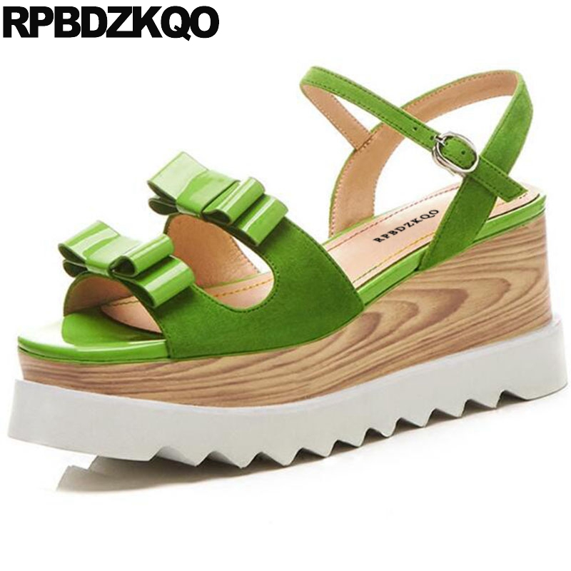 Women Green Kawaii Platform Wedge Sandals Summer Cute High Quality Shoes  Bow Flatform Ankle Strap Bowtie Heels Slingback Pumps 87efa489a7