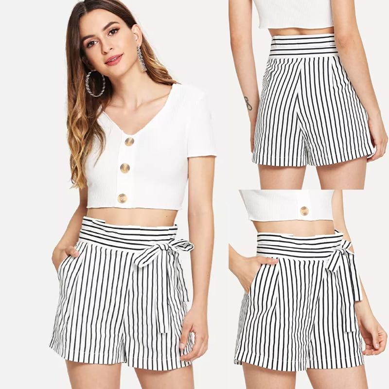 Thefound Hot Women Summer Casual Loose Shorts Mini Skirt High Waist Short Trousers