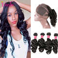 360 Frontal With Bundles Malaysian Loose Wave Virgin Hair With 360 Lace Frontal With Baby Hair Loose Wave With Closure Weave 1B
