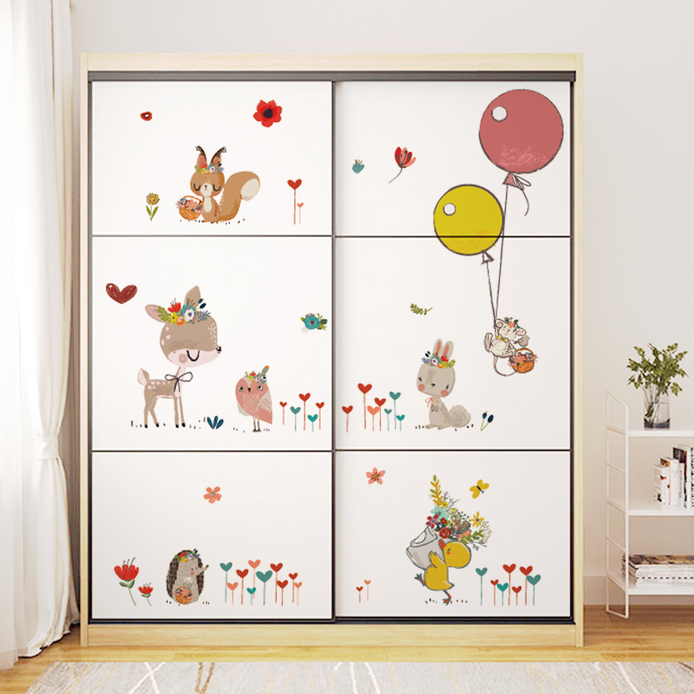 DICOR Brand Kawaii Animals Wall Sticker Cartoon Diy Duvar Sticker Mural For Kids Room Nursery Decoration PVC Removable Decal New in Wall Stickers from Home Garden
