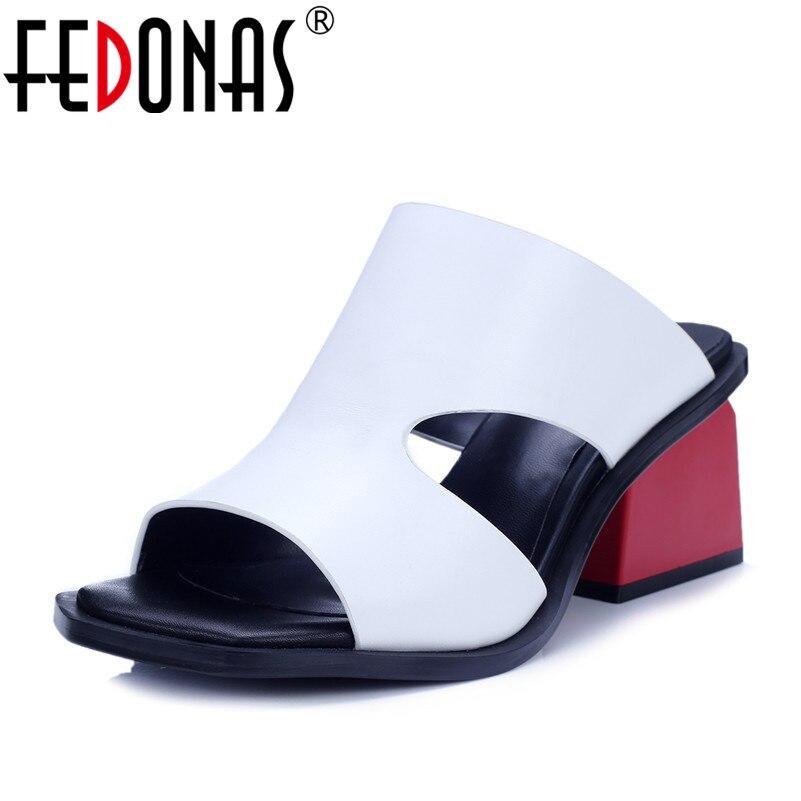 FEDONAS 2020 المرأة صنادل أرضية جلد البقر صندل كعب عالٍ الصيف الإناث روما نمط حذاء كاجوال امرأة جديدة الصنادل-في كعب عالي من أحذية على  مجموعة 1